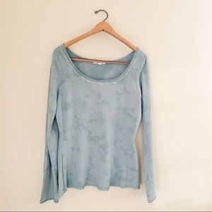 Express Jeweled Collar Basic Casual Tie Dye Top